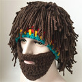 winter knitted Knight Helmet beanies hat for Halloween Handmade wool with wig beard wacky bearded Rasta ski snowboard face mask