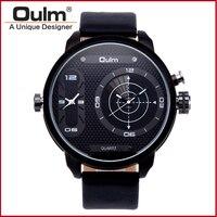 Dual Time Спортивные часы для Для мужчин Dual Time Zone Oulm Марка Лидер продаж Дизайн кварцевые наручные часы Мода Повседневное HP3221B