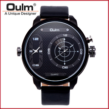 Dual Time Sport Watches For Men Dual Time Zone Oulm Brand Hot Selling Design Quartz Wrist Watches Fashion Casual HP3221B