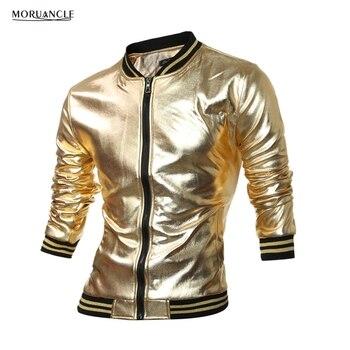 1afd5f2ce MORUANCLE novedad para hombre Varsity chaqueta metálica revestida noche  Club Wear chaquetas brillantes mandarín Collar negro oro plata E0112