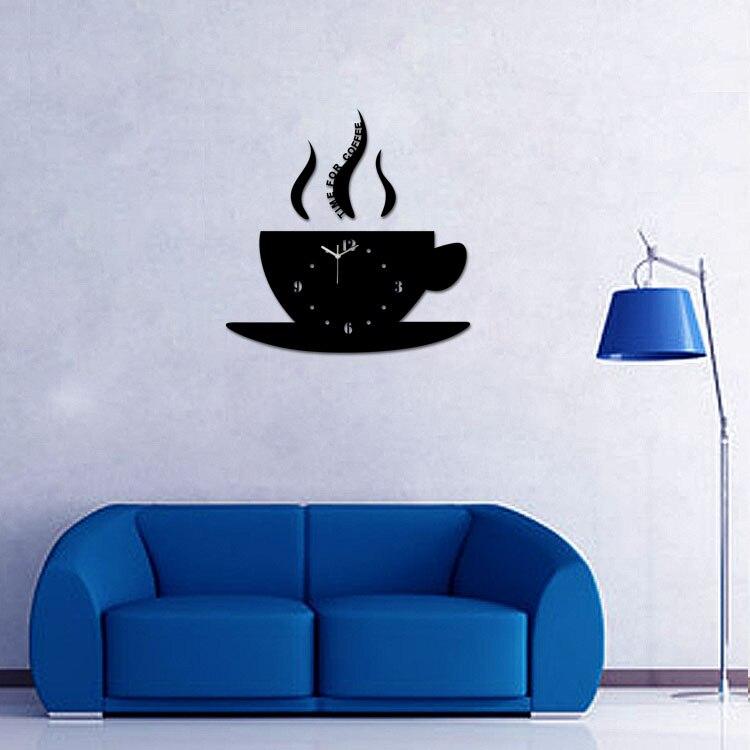 Diy Hot 3d Acrylspiegel Wanduhr Kaffeetasse große Uhr modernes - Wohnkultur - Foto 2