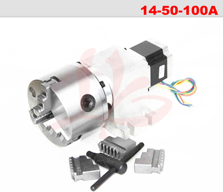 CNC 4th axis ( A aixs, Rotary axis ) with chuck for cnc router cnc miiling machine Rotary axis 14-50-100A 100mm 3 jaw chuck cnc 5 axis rotary axis t chuck type for cnc router cnc milling engraving machine