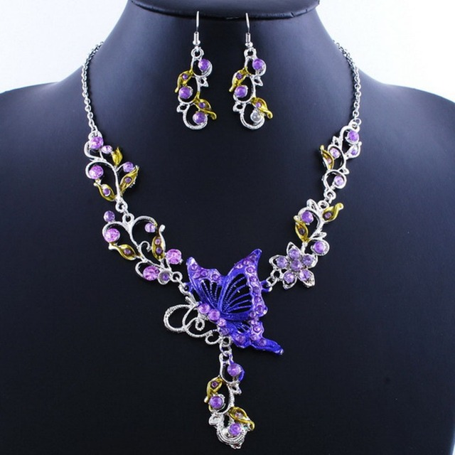 Charming Vintage Jewelry Set Crystal Flower Butterfly