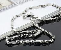 51 см титан стали длинные цепи, бесплатная доставка / оптовая продажа большой из нержавеющей стали мужская кэп, красивый большой Серра ожерелье