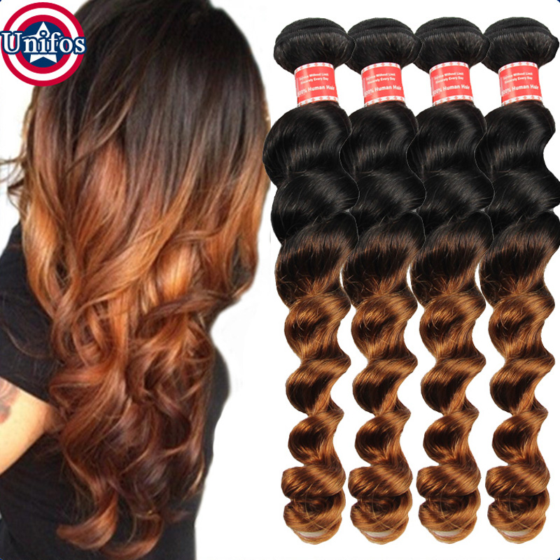 Brazilian Ombre Hair Loose Wave Two Tone Human Hair Weave Ombre