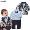 2017 New Brand Gentleman Baby Boy Clothes Set Striped Coat+ Blue Shirt Rompes With Bow Clothing Set Newborn Wedding Suit FF030