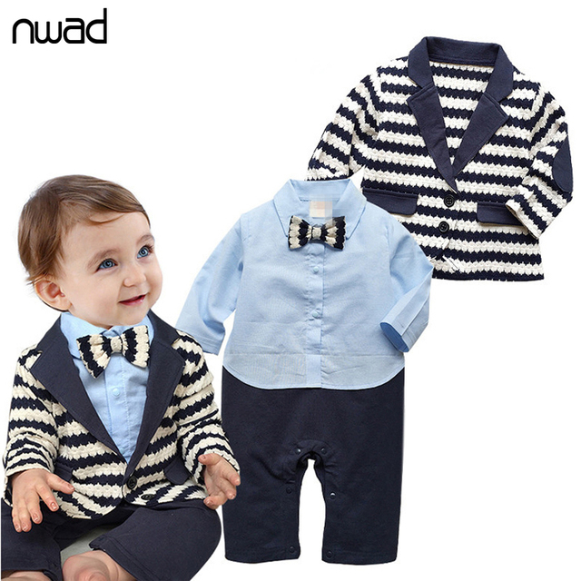 e98e12db64340 2017 New Brand Gentleman Baby Boy Clothes Set Striped Coat+ Blue Shirt  Rompes With Bow Clothing