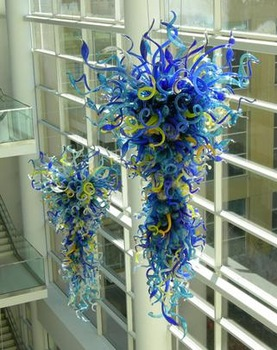 Modern LED Bulbs Light Source Italian Dale Chihuly Style Hand Blown Murano Glass Shade Large Hotel Chandelier