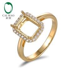 Кольцо для помолвки Anniverary, 14K, желтое золото, натуральный бриллиант 0,21 карат, полукрепление 7x9 мм