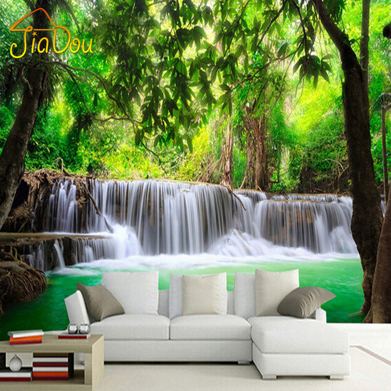 Custom 3d photo wallpaper nature landscape waterfall mural for Blood in blood out mural la river