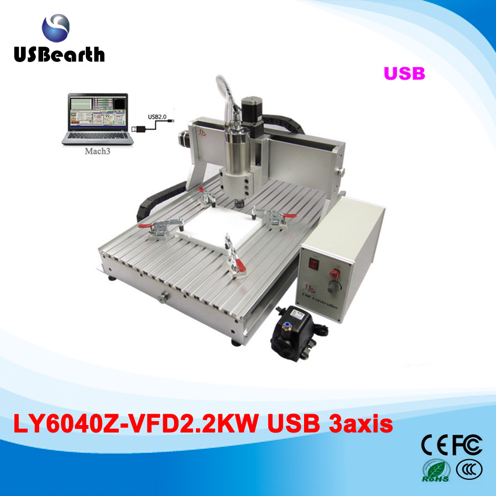 metal carving machine desktop CNC Router 6040 3 Axis 2.2KW VFD water cooled spindle cnc machine 4 axis cnc router 6040 2200w water cooled cnc spindle mini metal woodworking cutting machine