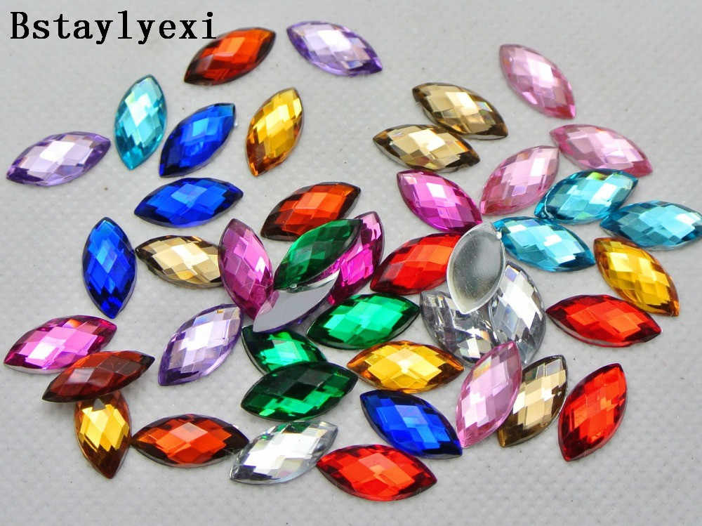f655d91072 100pcs Mixed Color Acrylic Flatback Faceted Horse Eye Rhinestone No Hole  Home Crafts finery decorative diy accessories