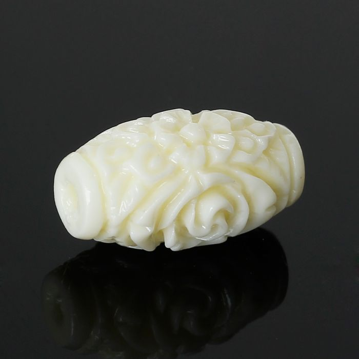 DoreenBeads Created Coral Spacer Beads Barrel Beige Flower Carved About 16mm x 9