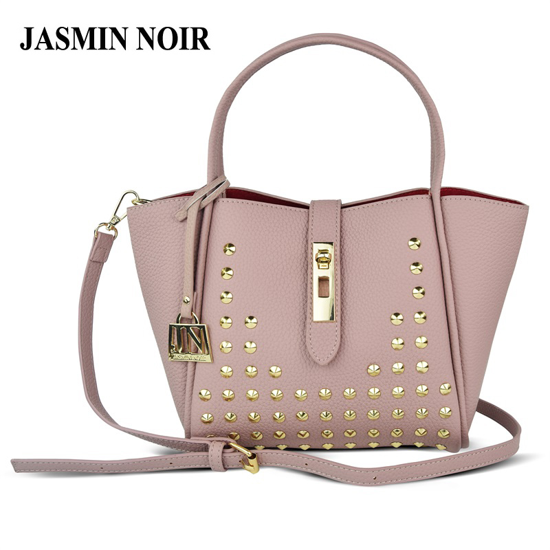 JASMIN NOIR Brand 2017 Winter New Women Leather Purse and Handbag Big Tote Bags Rivet Designer Crossbody bags цена и фото