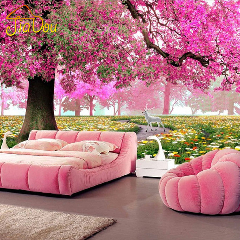 Custom Photo Mural 3D Stereoscopic Romantic Cherry Tree Wall Painting Art HD Living Room Sofa TV Background 3D Mural Wallpaper custom 3d stereoscopic large mural wallpaper wall paper living room tv backdrop of chinese landscape painting style classic