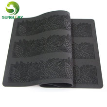 40*20CM Sugar Craft Baking Flower Pattern Silicone Mat Fondant Cake Decorating Tools Kitchen DIY Silicone Lace Mold Color Black(China)