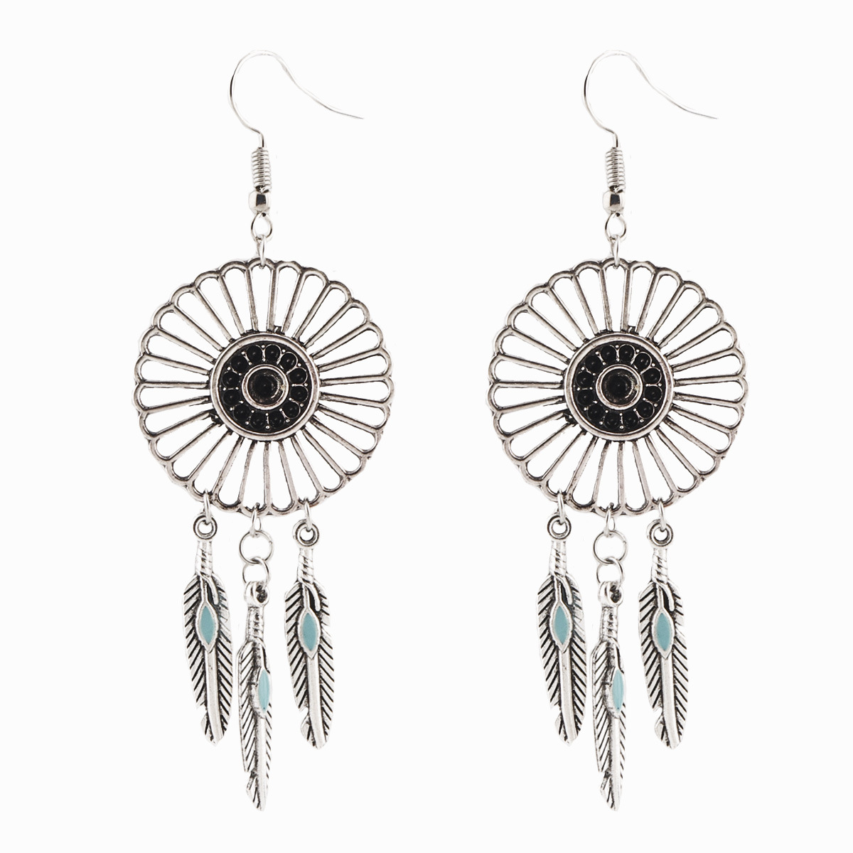Funique Vintage Retro Drop Boho Tassel Enamel Feather Dreamcatcher Earrings  For Women 2017 Fashion Jewelry Dangle