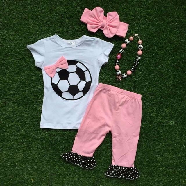 2016 летние девочки футбол костюм ребенок бутик одежды одежда детей розовый капри соответствующие ожерелье и головные уборы