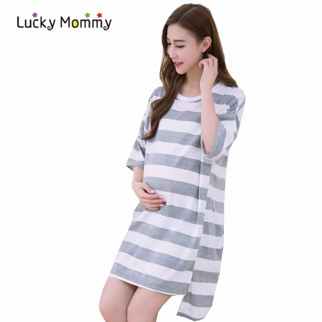 Fashion Striped Pregnancy T-shirts Dresses for Summer Half Sleeve Maternity Tops Cotton Maternity Clothes for Pregnant Women