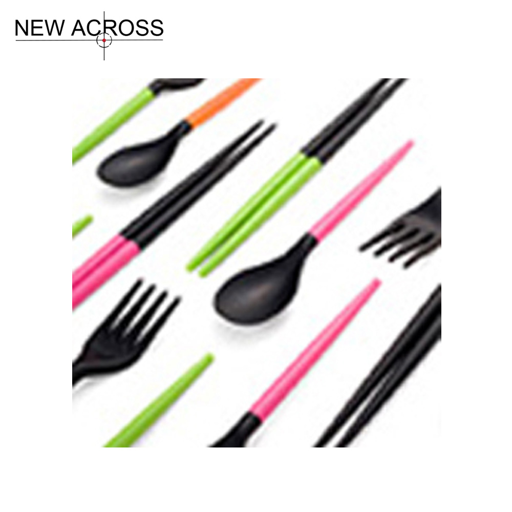Gohide Plastic Fork Chopsticks Sets Random color Eco Friendly Cutlery Function Chopsticks Set Fork Chopsticks Kit
