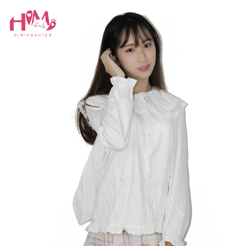 Bunny peter collar white blouse lolita shirt soft sister cosplay cute tops women summer cotton shirts white free shipping (3)
