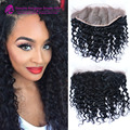 13x6 Cabelo Malaio Onda Profunda Encaracolado Fechamento de Renda Frontal Mão-peruca do Laço amarrado Fechamento humano Cheio e grosso cabelo