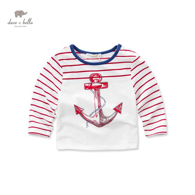 Db3428 dave bella primavera menino de algodão marinheiro t - camisa roupas infantis toddle camiseta meninos top de alta qualidade âncora listrado tee