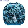 2016 Autumn Men/Women New Blue Color Sweatshirt Punk Style Hoodies Print Flower Skull Plant Weed Design Clothes Crewneck Tops
