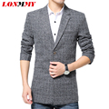 LONMMY Long trench coat men Single-breasted Casual mens overcoat Plaid mens trench coat Windbreaker jacket male 2016 Autumn coat