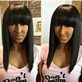 Топ 10 ''-18'' Натуральный Бразильский девственные волосы кружева перед парики челкой короткие боб человеческих волос полный шнурок человеческих волос парики для чернокожих женщин