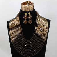 Superior Brown Gold Indian Bridal Crystal Jewelry Set 12 Layers Wedding Nigerian African Beads Jewelry Set Free shipping WD067