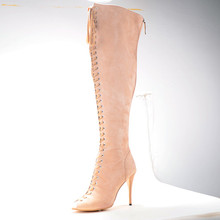 Spring/Autumn Women's Stiletto Heel Boots Shoes chaussure femme 2015 Knee-High  Women Fashion Comfortable Shoes Size 4 To 14