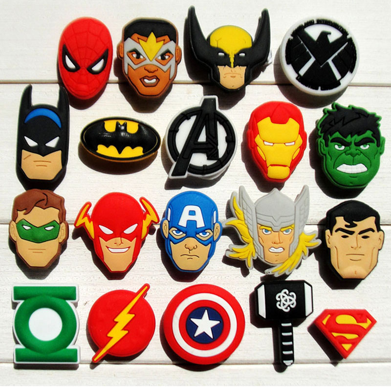 Hot 19pcs Avengers PVC shoe charms shoe accessories shoe buckle For wristbands Bands &kid's gifts best free shipping new 100pcs avengers pvc shoe charms shoe accessories shoe buckle for wristbands bands