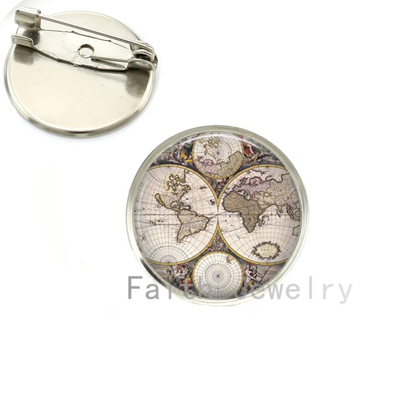 Novelty World Map brooch pins traveller gift Australia Boston Chicago Ireland New Zealand Iceland country map brooches NS046