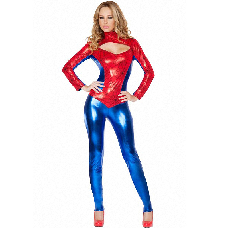 2016 PVC <font><b>Deluxe</b></font> <font><b>Spiderman</b></font> Spider-Girl <font><b>Adult</b></font> Ladies <font><b>Costume</b></font> Halloween Cosplay Bodysuit