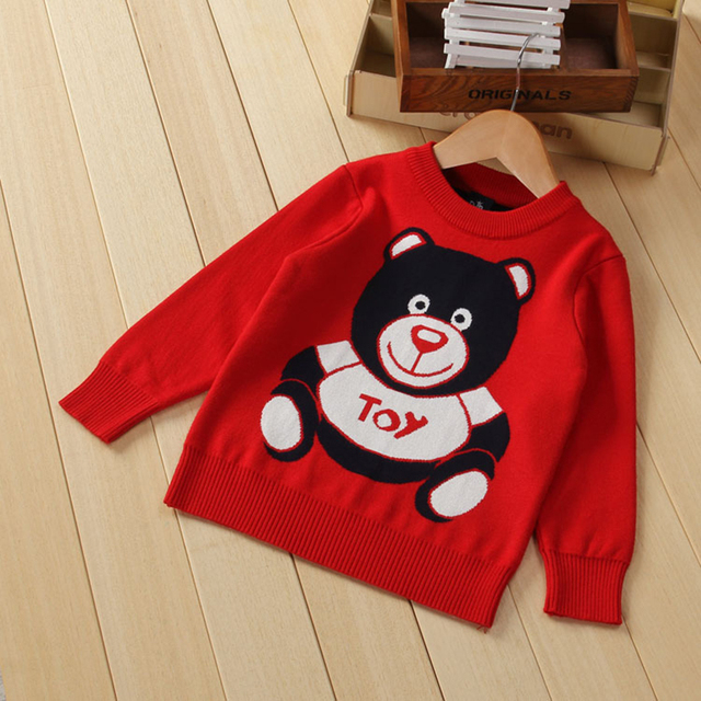 Warm Knitted kids sweaters bear print boys sweaters long sleeve girls hoodies children's pullovers baby boys&girls clothes