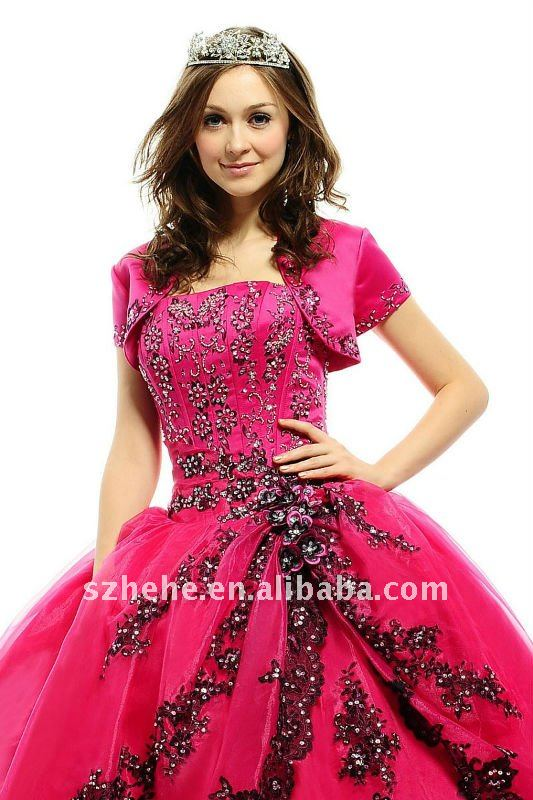 Puffy Organza hot pink quinceanera dress with black appliques. (including  the petticoat for this dress). Q0042 (2).jpg ... 0678f7aa4c3f