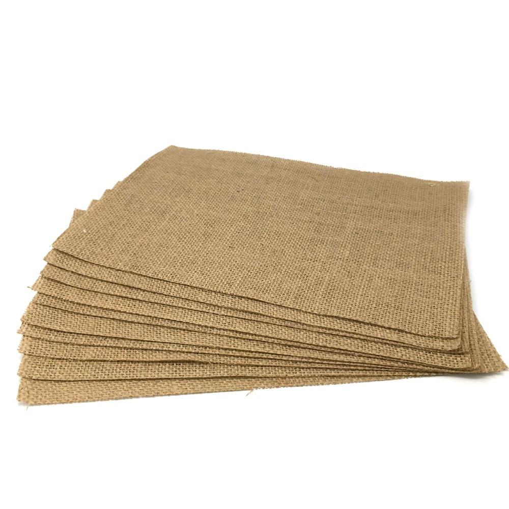 21x29cmChristmas 웨딩 파티 장식 황마 자연 테이블 매트 헤센 삼베 빈티지 수제 액세서리 인쇄 DIY 장식