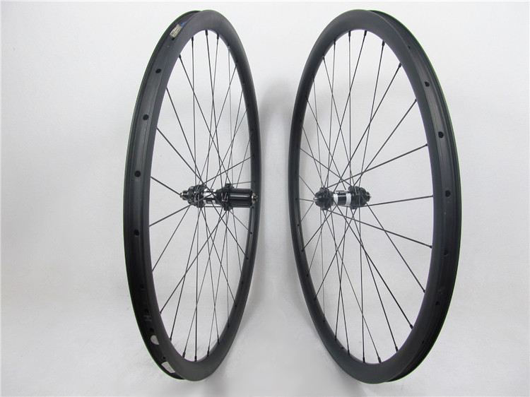 Far Sports 30mm deep 25mm wide toray carbon cyclocross bike wheels clincher 28H with DT 350s central lock SP & Sapim spokes