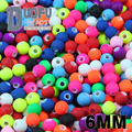 Top quality 250PCs 6MM Mixed Candy Color Acrylic Rubber Beads Neon Matte Round spacer loose beads Jewelry Handmade necklace DIY