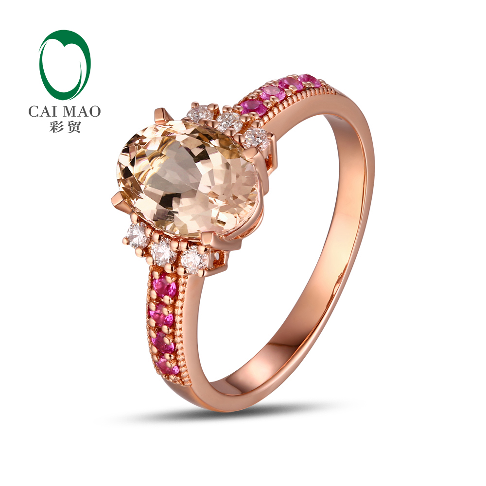 750 Rose Gold 178 Ct Natural Morganite 012ct Round Cut  Diamond 017ct Pink Sapphire Engagement Ring Jewelry