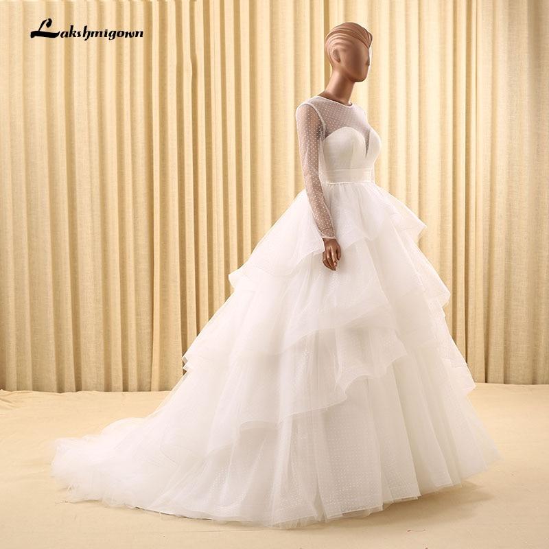 Ruffled Ball Gown Wedding Dress: Luxurious Lace Ball Gown Wedding Dress 2018 For Mariage