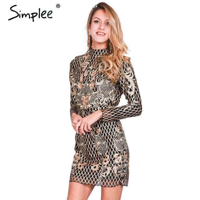 Simplee Сексуальная спинки золото блесток платье Женщины элегантный цветочный плед bodycon платье Осень зима партия короткие винтаж платье vestido