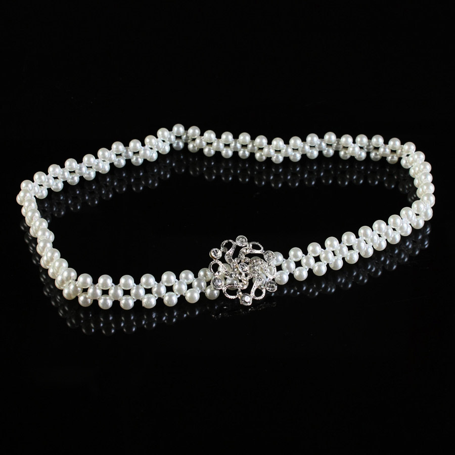 ộ ộ ༽Femmes robe parure de mode perle chaîne de taille ceinture ... 7629ea1ca3a