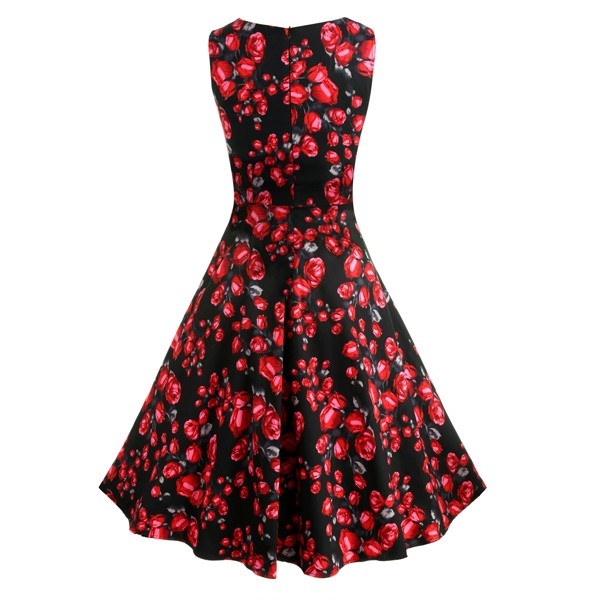 ACEVOG Women Dress Retro Vintage 1950s 60s Rockabilly Floral Swing Summer Dresses Elegant Bow-knot Tunic Vestidos Robe Oversize 38