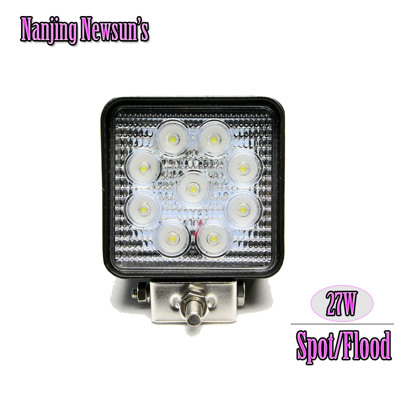 1PC 27W Led Work Light High Intensity Epistar Spot Flood Beam 4Inch Square 27W Working Light Waterproof  For Off Road Moto SUV