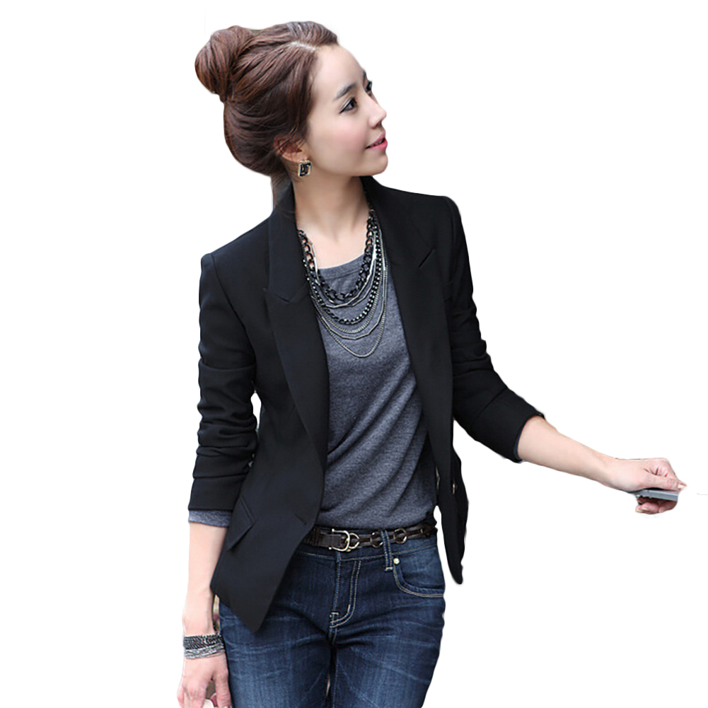 S-XXXL 2016 Fashion Autumn Women Classic Solid Color Slim Thin Small Business Suit Coat Kroean Women Blazer