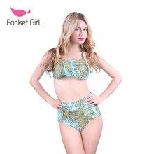 2016 swimsuit high waist leaves Push Up strapless Bikini Set Swimwear Bandage Bathing Suit Brazilian Vintage