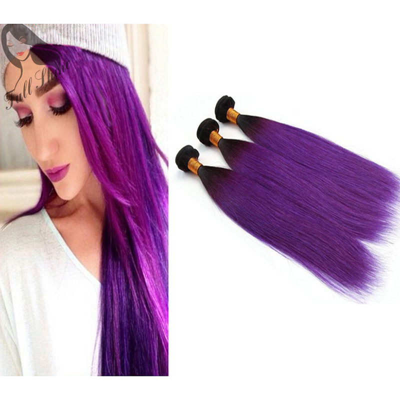 Full Shine 3 Bundles Brazilian Straight Hair 1b Violetpurple Ombre