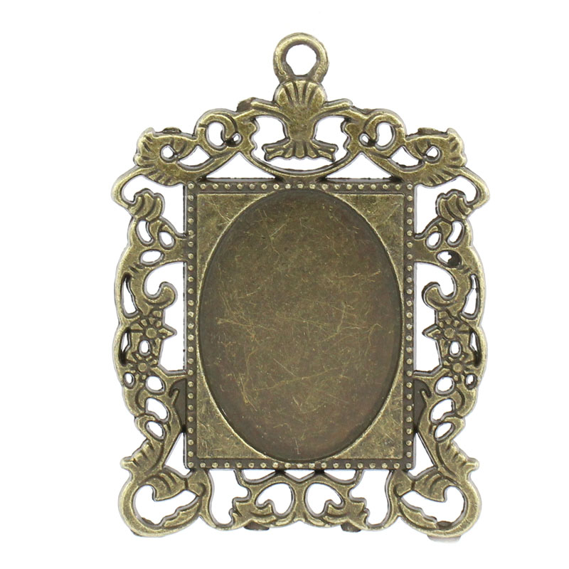 LASPERAL10Pcs Cameo Frame Oval Setting Pendants Rectangle Bronze ...